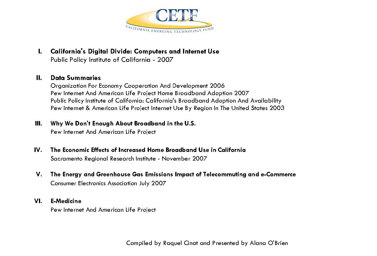CETF Broadband Usage and Adoption Data Summary