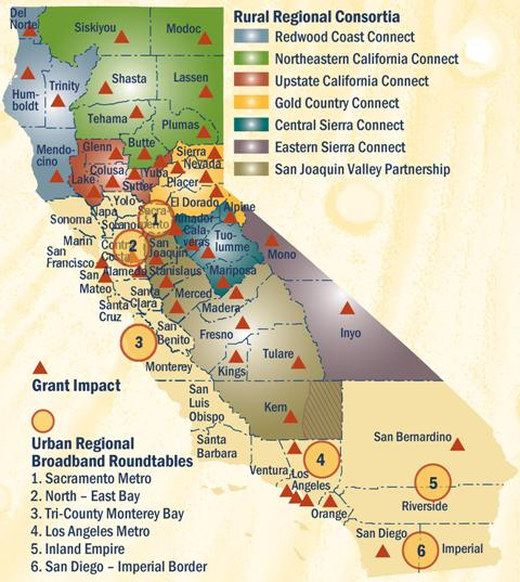 a map of California with Rural Regional Consortia and lots of icons and a legend