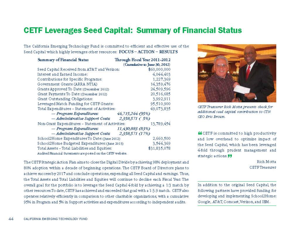 CETF Annual Report Financial Summary 2011-2012