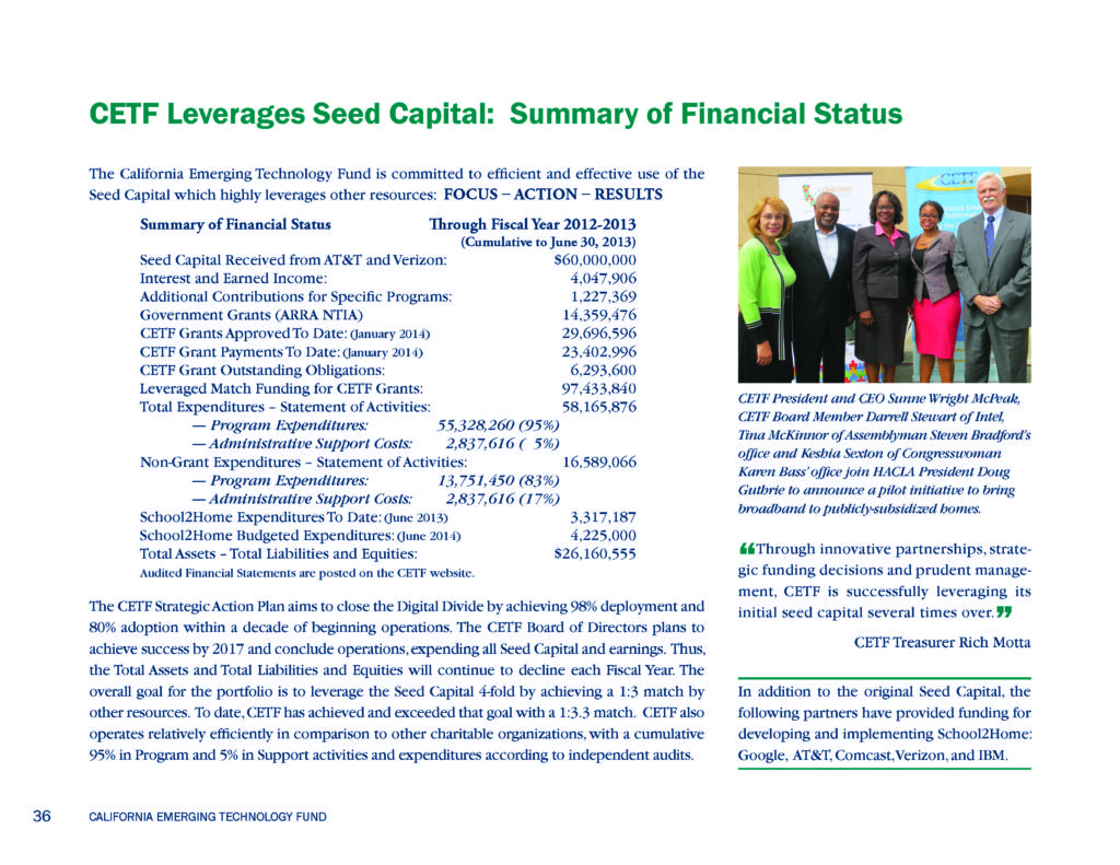 CETF Annual Report Financial Summary 2012-2013