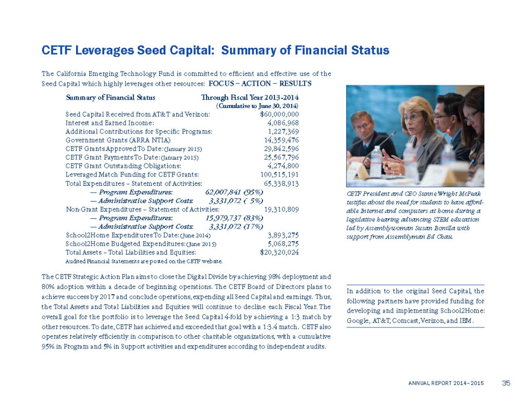 CETF Annual Report Financial Summary 2013-2014