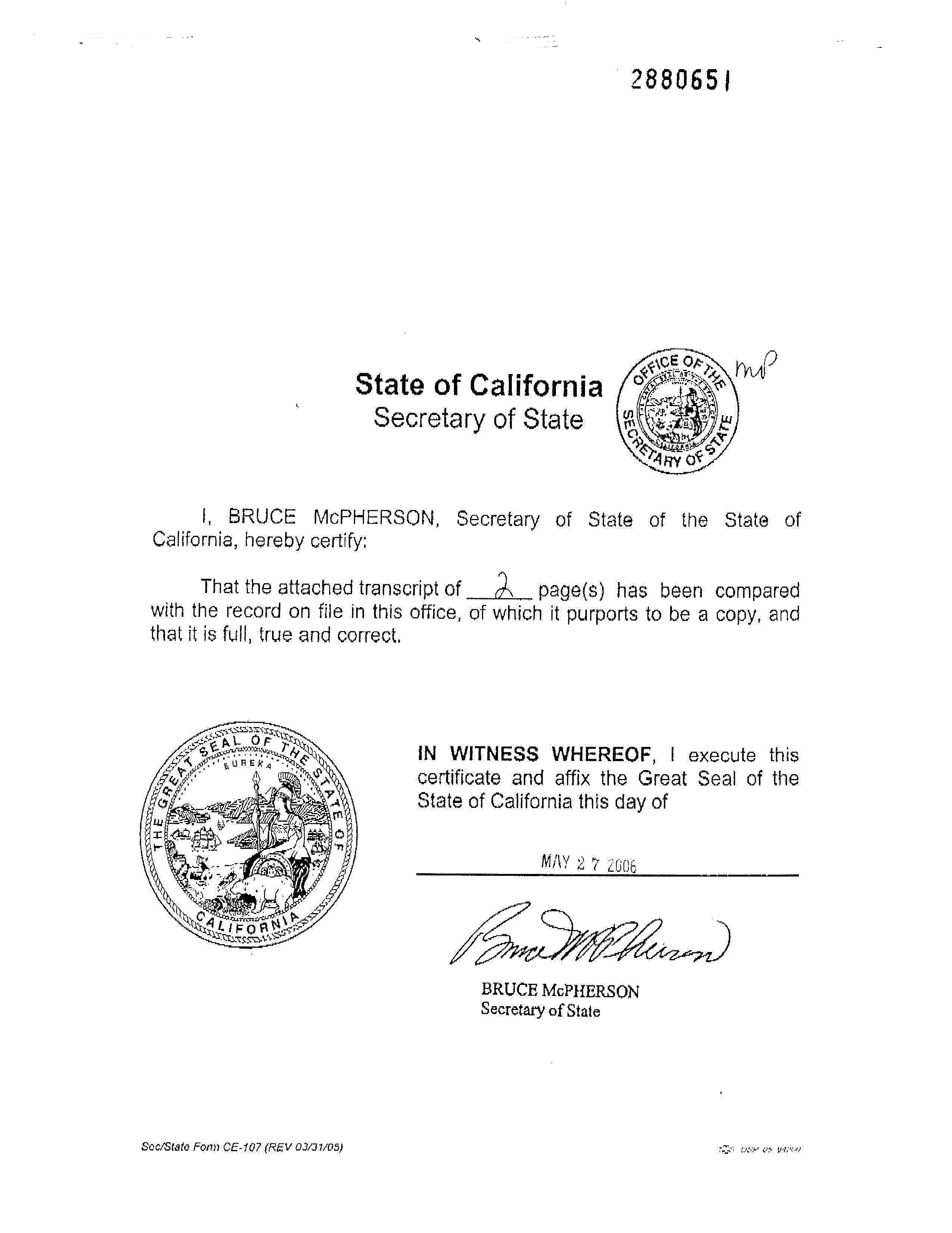 CETF Articles of Incorporation signed by California Secretary of State