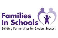 Logo shows figure of two adults forming a heart shaped arch over the figure of a child wearing a graduation cap and holding a diploma